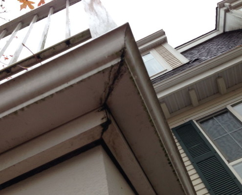 Gutters leaking during exterior inspection