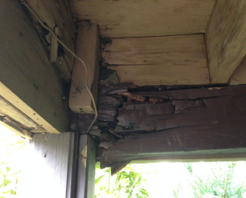 Rotten beams and joists under deck areas