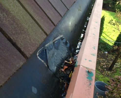 Built in gutters need servicing leaking below