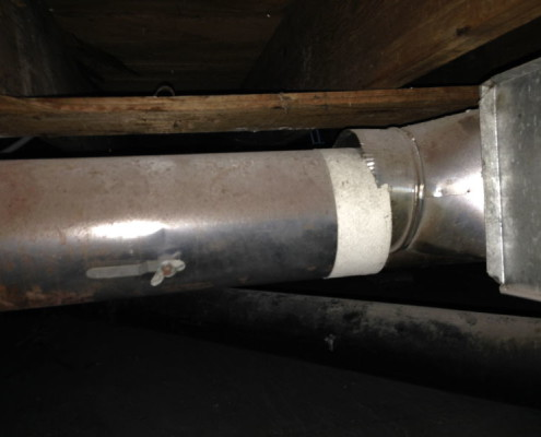 Disconnected heating ductwork heating inspection