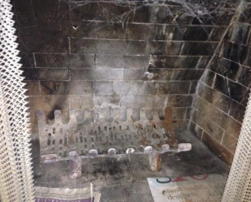 Mortar broken and missing in firebox